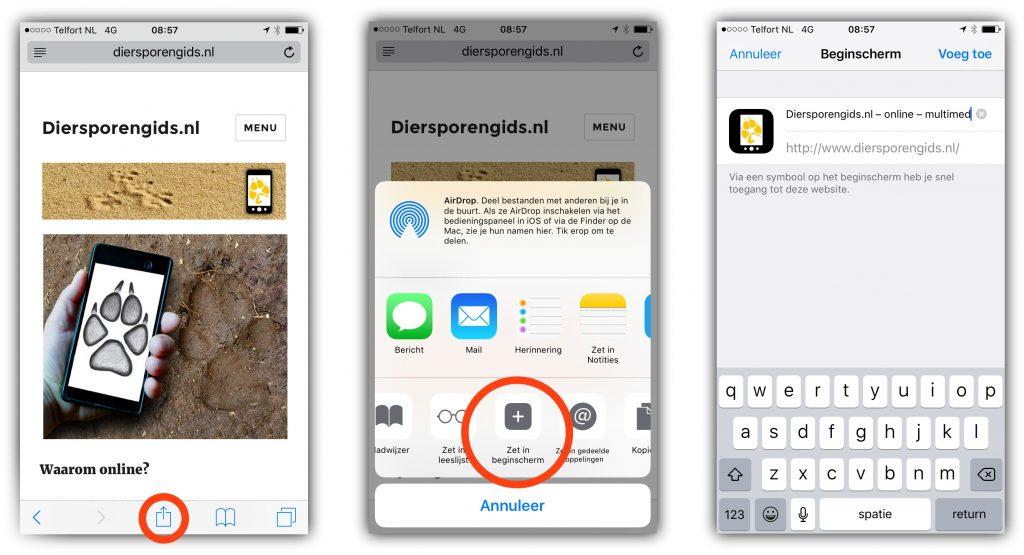 icoon op homescherm iphone